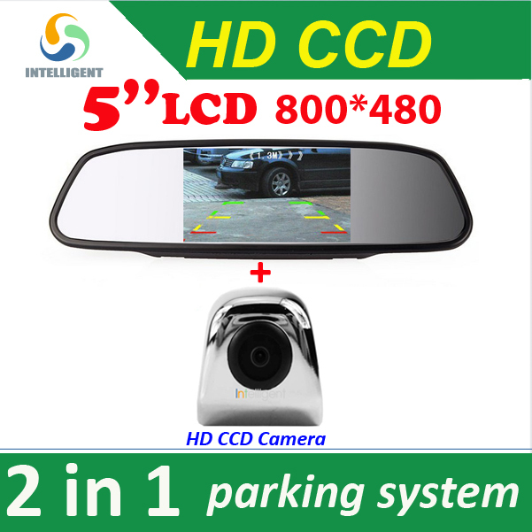 "2 in 1 HD CCD rear view Camera + 5"" HD Digital Car Mirror Monitor , rear view mirror CCD car parking camera(China (Mainland))"