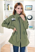 2013 New Spring and autumn European and American brands Leisure Rivet Thin Long sleeve Big size Fashion Trench Women Coat