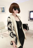 Geometric diamond pattern loose bat sleeve knit cardigan sweater