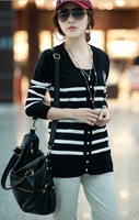 Knit cardigan sweater coat stripe with stripe soul knitted sweater