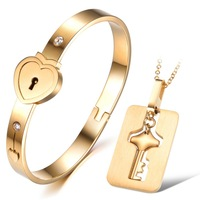 OPK JEWELRY Hot Sell! 18K gold plated Steel Eternal Love Heart Lock Bangle Key Necklace couple promise jewelry set, 660