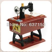 Fashion Vintage Mini Sewing Machine Style Mechanical Music Box