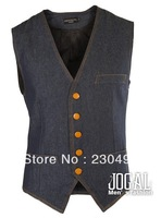 2013 autumn hot selling Men's  Denim waistcoat leisure waistcoat free shipping by china post,code number:369.