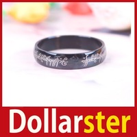 [Dollar Ster] Black Lord of the Rings Stainless Steel Mens Women Band Ring 6mm 24 hours dispatch