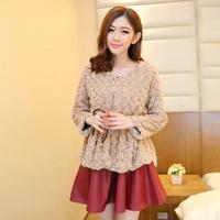9392 2013 women's luxury long-sleeve medium-long fur coat belt