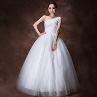 EMS FREE SHIPPING sweet Korean style lace floor-length wedding dress bride gown inclined shoulder wedding dresses H13760
