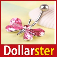 [Dollar Ster] Beautiful Rhinestone Butterfly Navel Belly Button Barbell Ring Body Piercing 24 hours dispatch
