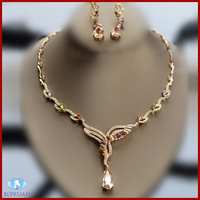 fashionable indian cubic zirconia jewelry necklace set