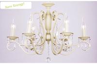 Chandelier Iron K9 Crystal LED European-style Garden Restaurant Bedroom Cozy Living Room Beige White 6 Light Holders