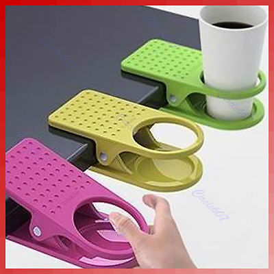 J35 Free Shipping Drink Cup Coffee Holder Clip Desk Table Home Office Use(China (Mainland))
