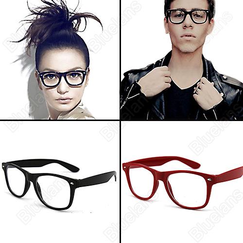 Fashion Lovely Unisex Clear Lens Nerd Geek Glasses Men Women Sunglasses Eyewear 8 Colors Wholesale 1NHZ(China (Mainland))