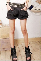 2013 free shipping New Leisure Style Rivet Decorated Short Pants Sky Blue black red