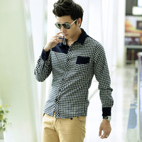 Fashion new autumn male long-sleeve shirt trend plaid slim clothes hot men