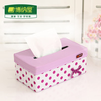 2014 Sale New Arrival Freeshipping Tissue Case Toilet Roll Tecido Boehner Polka Dot Cloth Tissue Box Cover Bow Pumping