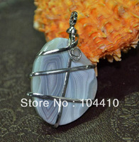 New Fashion Jewelry Wire Wrapped Natural Botswana Agate Stone  Freeform Pendant Beads Wholesale