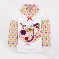 FREE SHIPPING F3346# Nova kids baby girl turtleneck long sleeve flower printing fashion style t-shirt