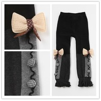 1piece retail 2013 kids girls bow pants, cotton cashmere pants elastic waist leggings warm trouser for Autumn winter