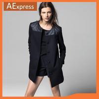 2013 New Arrival Fashion Autumn Winter O-Neck Long Sleeve Spliced Women Woolen Blended Coat, XS S M L XL, 647