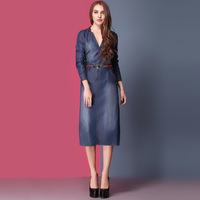 2013 Autumn New Europe and The United States Wear Sleeve Single Breasted Two Beautiful Ladies Denim Skirt Dress Belt