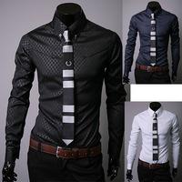 2014 Tuxedo shirts men long-sleeve shirt slim fit shirts for men casual dress Colors black,navy blue,white Size:M~XXXL