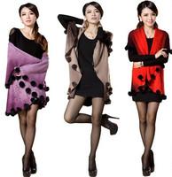 New Winter Women Cashmere Wool Cape Coat Knitted Rabbit Fur Ball Plus Size Shawl Elegant Cardigan Warm Sweater Dress 4 Colors