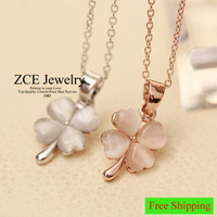 Korean Fashion jewelry cat eyes opal stone transparent lucky girl Clover 4 leafs style Short Necklace Dita august 40 +5 cm chain