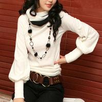 2014 autumn and winter women turtleneck slim top long-sleeve T-shirt thickening basic shirt