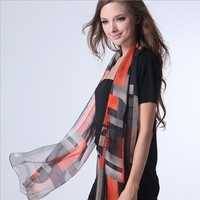 Autumn and winter fashion graphic geometric patterns chiffon silk scarf women's design long scarf pahone cape scarf