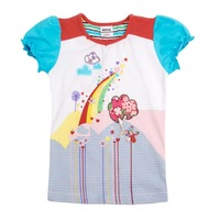Baby girl clothing short sleeve  t shirts embroidery with lovely colorful flowers FREE SHIPPING K3973#White