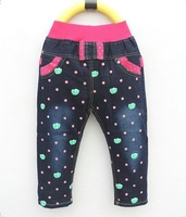 Free shipping girls pants bear with heart style, high quaity polk material jeans item no 5337