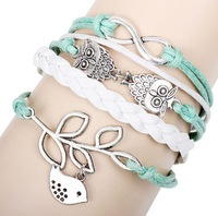 New Fashion Infinity Owl Olive Branch with Pigeon Peace Handmade Bracelet Gift Free Postage