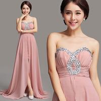 Pink bride bridal evening dress low-high train evening dress wedding 067