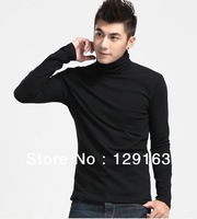 Autumn 2013 Fall New Casual Men's Long Sleeves Turtleneck T-Shirts Slim Fit Stylish Dress T Shirts Big size Free Shipping 373