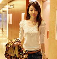 new arrival, With lace t-shirt,  Slim cotton long-sleeved T-shirt  Women Tees, t-shirt long sleeve