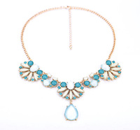 Free Shipping 2014 new fashion jewelry accessories wholesale royal drop pendant punk crystal gem necklace gold chain short women
