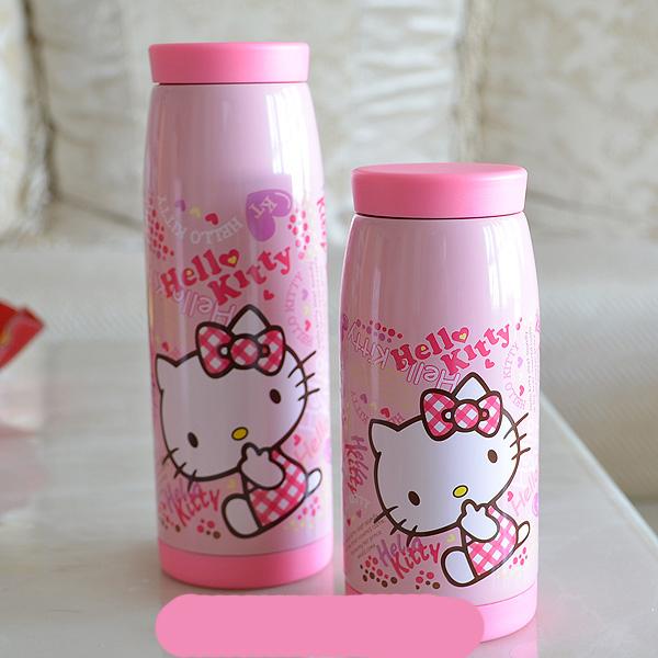 Free shipping stainless steel Hello kitty cute children pink vacuum flasks warm water bottle insulation pot 350ml(China (Mainland))