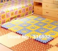 WM018 Blue and Yellow Paw design eva foam Puzzle Floor Mat for baby carpet puzzle, 10pcs/pack