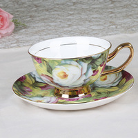 Free shipping, Bone china coffee cup fashion d'Angleterre black tea set 24k gold foil cup and saucer gift 2 cups&2 dishes/lot