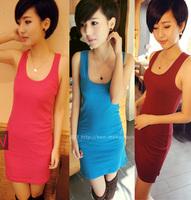 2013 New Fashion Candy Lady Sleeveless Long Tank Vest Shirt Tops Mini Dress Sexy Wholesale Sleeveless Casual vest  Free Shipping