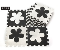 WM018 High qualiity flower (Black+White) eva puzzle foam baby play mat for Children, 10pcs/set