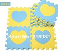 WM018 High qualiity Heart design (Blue+Yellowt) eva puzzle eva foam baby carpet puzzle for Children, 10pcs/set