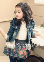 Hot Sale fashion Chidren's jacket jean jacket lace decoration size 90-130
