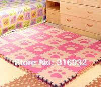 WM018 Beige and Pink Paw design eva foam Puzzle Floor Mat for baby carpet puzzle, 10pcs/pack