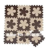 WM018 High qualiity flower (Beige+coffee) eva puzzle foam baby play mat for Children, 10pcs/set