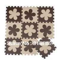 WM018 High qualiity flower (Beige+coffee) eva puzzle foam baby play mat for Children, 10pcs/set