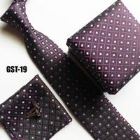 Luxury Ties set hankie + cufflink + gift box + fashion ties black with purple checkers factory wholesale