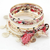 new arrival Fashion pearl Bow Bracelet multilayer exquisite bangles for women free shipping