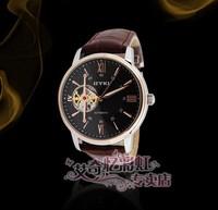 Original EYKI Leather Automatic Watch Gold Bracelet 100% Stainless Steel Case Skeleton Mechanical Man Hour Freeshipping