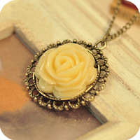 Free shipping accessories fashion accessories nostalgic vintage rose flower necklace long design wedding jewelry