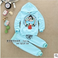 Free shipping 2014 New Children's cartoon hooded long sleeved pants suit pants suit for children HZ14 D20